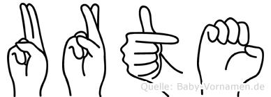 Urte im Fingeralphabet der Deutschen Gebärdensprache