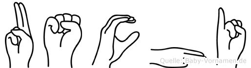 Uschi im Fingeralphabet der Deutschen Gebärdensprache