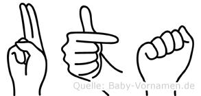 Uta im Fingeralphabet der Deutschen Gebärdensprache