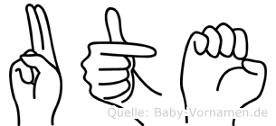 Ute in Fingersprache für Gehörlose