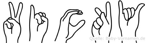 Vicky im Fingeralphabet der Deutschen Gebärdensprache