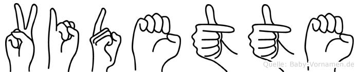 Vidette im Fingeralphabet der Deutschen Gebärdensprache