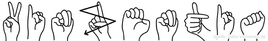Vinzentia im Fingeralphabet der Deutschen Gebärdensprache