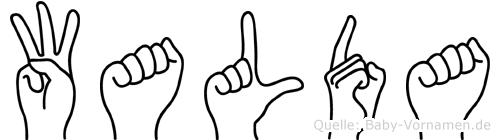 Walda im Fingeralphabet der Deutschen Gebärdensprache