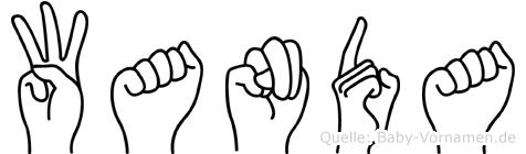 Wanda im Fingeralphabet der Deutschen Gebärdensprache