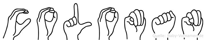 Coloman im Fingeralphabet der Deutschen Gebärdensprache