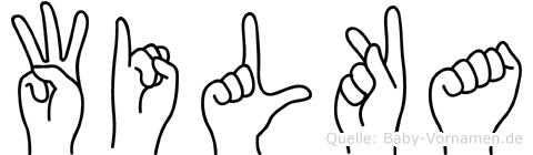 Wilka im Fingeralphabet der Deutschen Gebärdensprache
