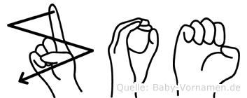 Zoe im Fingeralphabet der Deutschen Gebärdensprache