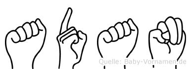 Adan in Fingersprache für Gehörlose