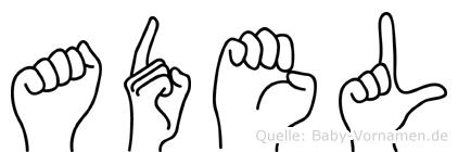 Adel im Fingeralphabet der Deutschen Gebärdensprache