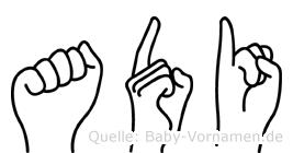 Adi im Fingeralphabet der Deutschen Gebärdensprache