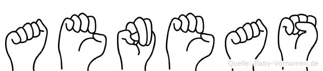 Aeneas im Fingeralphabet der Deutschen Gebärdensprache