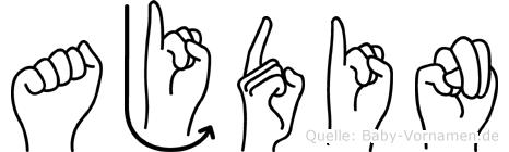 Ajdin im Fingeralphabet der Deutschen Gebärdensprache