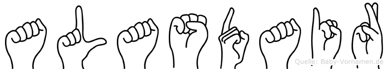 Alasdair im Fingeralphabet der Deutschen Gebärdensprache