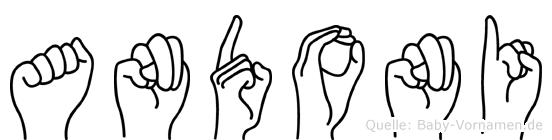 Andoni im Fingeralphabet der Deutschen Gebärdensprache