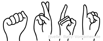 Ardi im Fingeralphabet der Deutschen Gebärdensprache