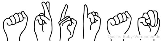 Ardian im Fingeralphabet der Deutschen Gebärdensprache