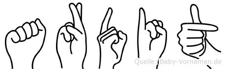 Ardit in Fingersprache für Gehörlose
