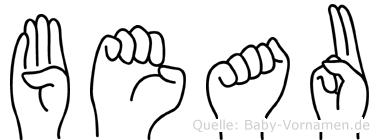 Beau im Fingeralphabet der Deutschen Gebärdensprache