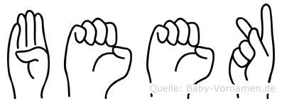 Beek im Fingeralphabet der Deutschen Gebärdensprache