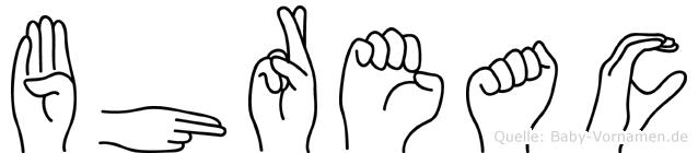 Bhreac im Fingeralphabet der Deutschen Gebärdensprache