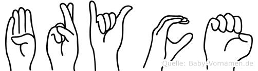 Bryce im Fingeralphabet der Deutschen Gebärdensprache