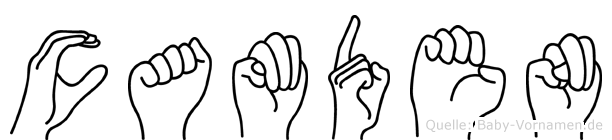 Camden im Fingeralphabet der Deutschen Gebärdensprache