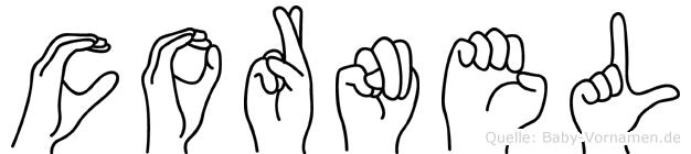 Cornel im Fingeralphabet der Deutschen Gebärdensprache
