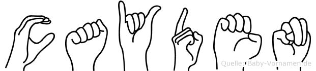 Cayden in Fingersprache für Gehörlose