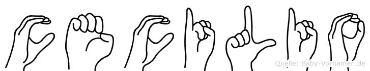 Cecilio im Fingeralphabet der Deutschen Gebärdensprache