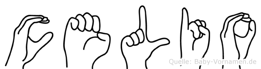 Celio im Fingeralphabet der Deutschen Gebärdensprache