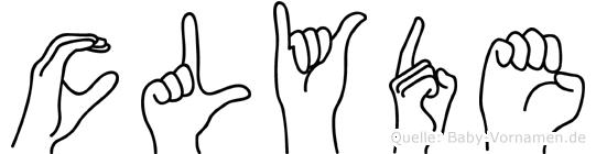 Clyde im Fingeralphabet der Deutschen Gebärdensprache