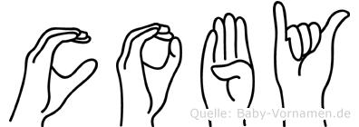 Coby im Fingeralphabet der Deutschen Gebärdensprache