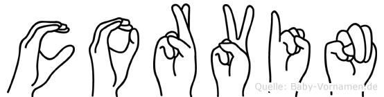 Corvin im Fingeralphabet der Deutschen Gebärdensprache