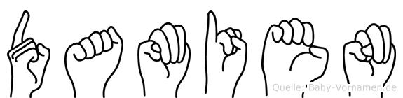 Damien im Fingeralphabet der Deutschen Gebärdensprache