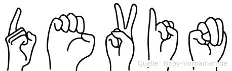 Devin im Fingeralphabet der Deutschen Gebärdensprache