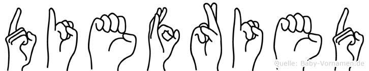 Diefried im Fingeralphabet der Deutschen Gebärdensprache