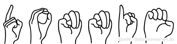 Donnie im Fingeralphabet der Deutschen Gebärdensprache