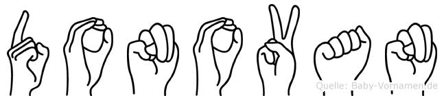Donovan im Fingeralphabet der Deutschen Gebärdensprache