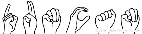 Duncan im Fingeralphabet der Deutschen Gebärdensprache