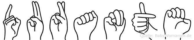 Durante im Fingeralphabet der Deutschen Gebärdensprache