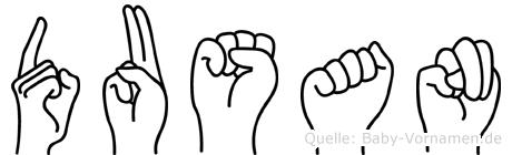 Dusan im Fingeralphabet der Deutschen Gebärdensprache
