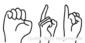 Edi in Fingersprache für Gehörlose