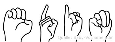 Edin im Fingeralphabet der Deutschen Gebärdensprache