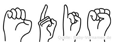 Edis im Fingeralphabet der Deutschen Gebärdensprache