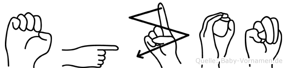 Egzon im Fingeralphabet der Deutschen Gebärdensprache