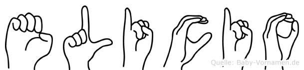 Elicio im Fingeralphabet der Deutschen Gebärdensprache