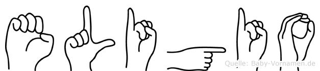 Eligio im Fingeralphabet der Deutschen Gebärdensprache