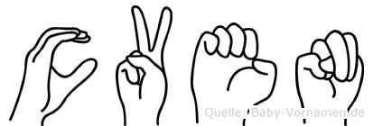 Cven im Fingeralphabet der Deutschen Gebärdensprache