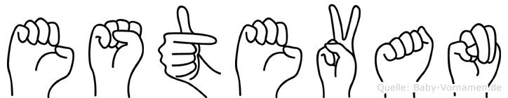 Estevan im Fingeralphabet der Deutschen Gebärdensprache